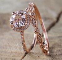 925 Silver Rose Yellow Gold Filled 2Pcs White Topaz Wedding Couple Set Ring Gift