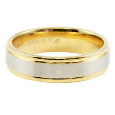 Solid 14k Two-Tone White & Yellow Gold Wedding Band Ring 6mm Step Edge Sz 10