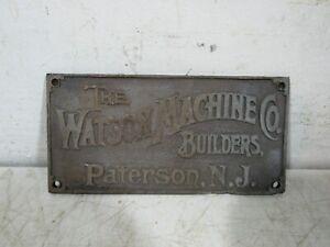 Vintage/Antique The Watson Machine Co Builders Paterson NJ Brass Plaque Tag Sign