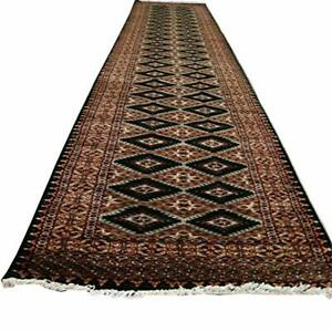 Awesome Dark Green Jaldar Hand Knotted Wool Silk Carpet Runner Rug (14.6 x 2.5)'