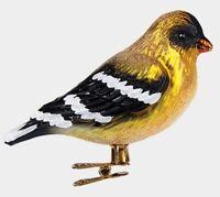 American Goldfinch Bird Clip On Polish Glass Christmas Ornament Animal Wildlife