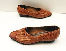Bally Leather Flats Brown Woven Classic Womens Shoes Size 5 Low Heel