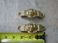 """(2) VTG Reproduction Gold Tone Dog Face Head Drawer Pulls 3 1/8"""" C to C"""