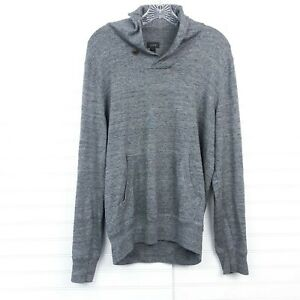 J. Crew Men's Size M Gray Button Collar Cotton Long Sleeve Pullover Sweater