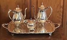 "FB Rogers Silver Plate Co 4 Piece Coffee & Tea Set with  Sugar & Large 25"" Tray"