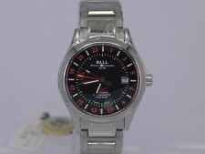 BNIB Ball Engineer Master II black dial auto date GMT SS bracelet watch