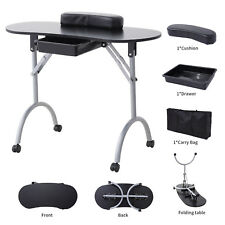 Portable Manicure Nail Table Foldable Station Desk Spa Beauty Salon Black