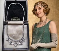 VINTAGE ART DECO CLEAR RHINESTONE NECKLACE DOWNTON ABBEY BRIDAL OCCASION GIFT