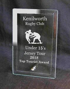 Personalised Glass Plaque Rugby Award Trophy