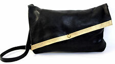 MURKA BLACK GOLD GENUINE LEATHER HAND-PAINTED SHOULDER BAG HANDBAG ARTISAN PURSE