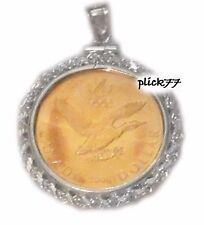 Canadian Loonie .925 Sterling Silver Rope Coin Pendant With Coin 26.5 X 2mm