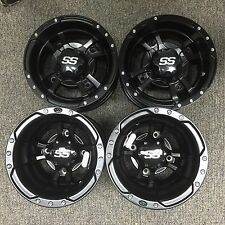 4 NEW SUZUKI LTZ400 LTR450 250 BLACK ITP SS112 Rims FOUR WHEEL SET CAPS & LUGS