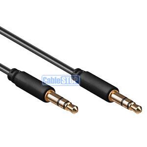 2m SLIM 3.5mm Mini Stereo Jack to Jack Plug Audio Headphone Aux Cable Lead Gold