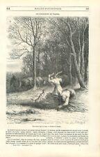 Forêt forestier ramasseurs de traînes bois de chauffage ouvriers GRAVURE 1851
