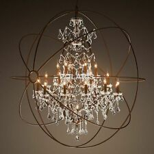 Foucault's Hanging Chandelier Home Ceiling Lamp Led Light Fixtures Crystal Orb