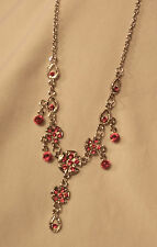 Lovely Sculpted Ruby Red Rhinetones Flowers & Dangles Silvertne Pendant Necklace