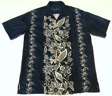Tommy Bahama Navy Blue Tropical Flowers Floral Mens Hawaiian Shirt XL or L ?