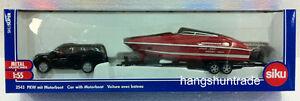 Siku Super 2543 1:55 Black Toyota V8 Car with Performance Marine 807 Motorboat