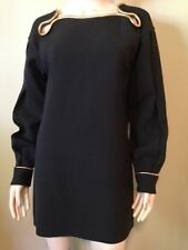 NWT$2660 YVES SAINT LAURENT Black  with Gold Chain Trim Dress Size 42