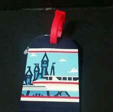 """DISNEY PARKS """"HAVE A MAGICAL DAY"""" MONORAIL SUITCASE LUGGAGE TAG BLUE WHITE RED"""