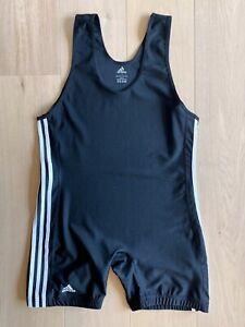 Adidas 3 Stripe Wrestling Singlet, Ringeranzug, Schwarz, Größe L