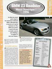 FICHE TECHNIQUE VOITURE BMW Z3 ROADSTER 1996 VÉHICULE COLLECTION