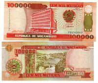 Banknote - 1993 Mozambique, 100000 Meticais, P139 UNC, Bank Building (F) Dam (R)