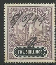 SOUTH AFRICA / CAPE OF GOOD HOPE QV 1898 FIVE SHILLINGS REVENUE USED