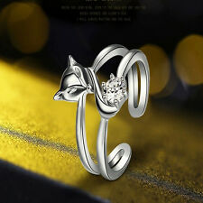 Fashion 925 Sliver Plated Opening Adjustable Fox Ring Valentine's Day gift Hot