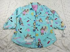 Nick and Nora sz M Sock Monkey Spa Blue Ruffle Pajama Top Lightweight Cotton NWT