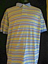 Ralph Lauren  POLO Blue With Yellow Stripes Cotton  Golf Shirt L