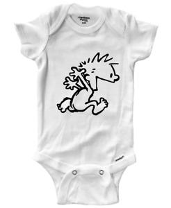 Calvin Hobbes Comic Running Naked Funny Gift Infant Gerber Baby Onesies Bodysuit