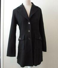 CAbi womens 8 black military inspired mid thigh coat bronze buttons #190