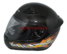 NEX FULL FACE MOTORCYCLE HELMET REAL CARBON FIBER DOT APPROVED LARGE ORANGE