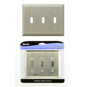 Triple 3 Toggle Outlet Switch Wall Plate Cover Century Brushed Nickel Steel Lot