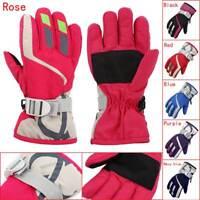 Children Winter Waterproof Warm Kids Ski Snowboard Gloves W/Adjustable Strap NEW
