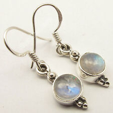 """Moonstone Extra Ordinary Earrings 1.2"""" 925 Sterling Silver Collectible Rainbow"""