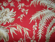 Antique French Botanical Floral Palm Fabric~Red Brown~pillows upholstery tote
