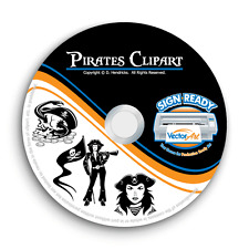 PIRATES CLIPART-VECTOR CLIP ART-VINYL CUTTER PLOTTER IMAGES & TSHIRT GRAPHICS CD