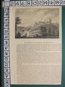 1772 DATED ANTIQUE YORKSHIRE PRINT ~ RICHMOND CASTLE ~ DESCRIPTIVE TEXT