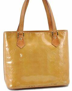 Authentic Louis Vuitton Vernis Houston Shoulder Hand Bag Yellow LV B2515