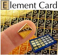 Element Card & 1 Gram 999.9 Pure Solid Fine Gold Bullion Valcambi Combibar 24K