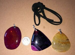 Set 3 Pcs Mixed Large Agate & Crystal Pendants Free Faux Suede Thong Necklace ;;