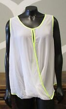 CO by COTTON ON Neon Yellow White Sheer Surplice Sleeveless Top - US 10 AUS 14