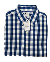 NWT J Crew Sunwashed  Men's Oxford Long Sleeve Button Shirt Large Blue Plaid