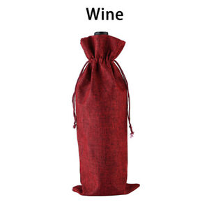 Christmas Wine Bottle Bags Xmas Stocking Santa Party Table Decorations Gift