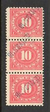"Scott # R234, Strip of 3, Used, F, 10¢ Documentary, 1917, Hs Cancel, ""F. N. B."""
