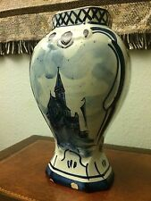 "Vintage Delft  Hand Painted Garniture Urn  9""  VASE"