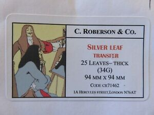 Silver Leaf Transfer - Thick (34g) 94 x 94mm 17 Leaves C. Roberson & Co