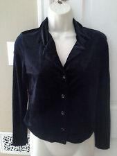 Vtg 90s D'knits Black Velvet Style Button Front Crop Top Shirt goth punk sz S